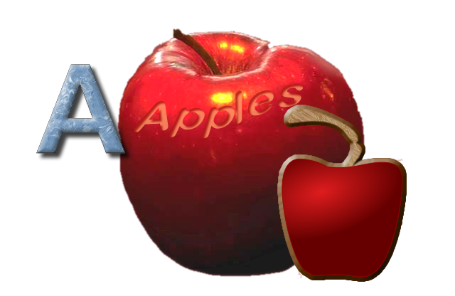 The 'apple' wording was engraved in; the smaller apple was enhanced by adding the stem and border; and the letter 'A' was colored and lightened. All separate graphics were then combined together.